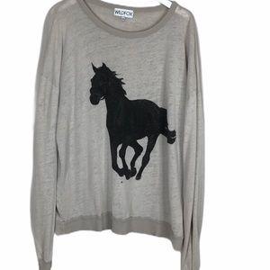 Wildfox Horse light distress wash sweatshirt